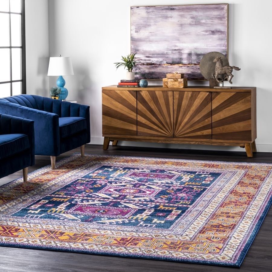 The rug in a colorful navy pattern