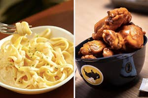 A bowl of Olive Garden pasta is on the left with a bowl of Buffalo Wild Wings on the right