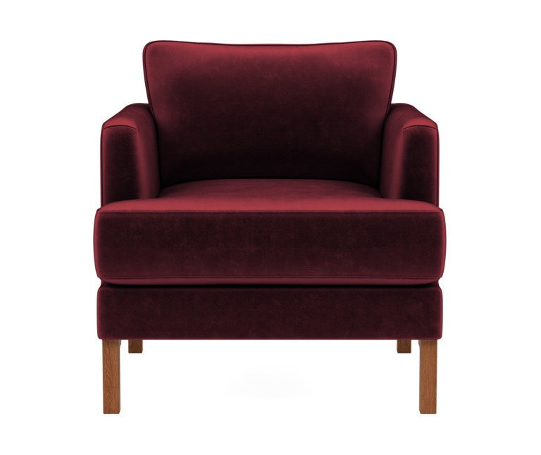 Armchair in red velvet