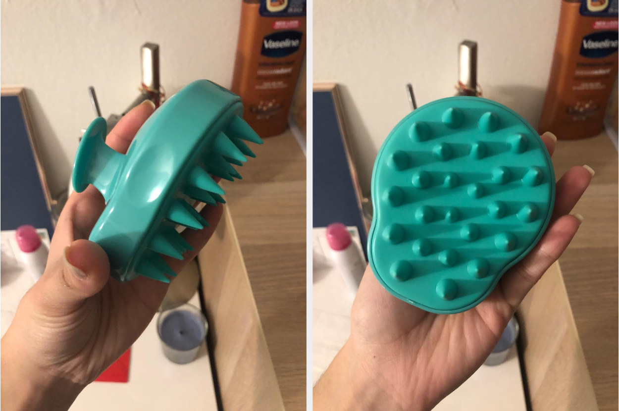 Split image of the reviewer's hand showing the side and bottom of the light green shampoo brush