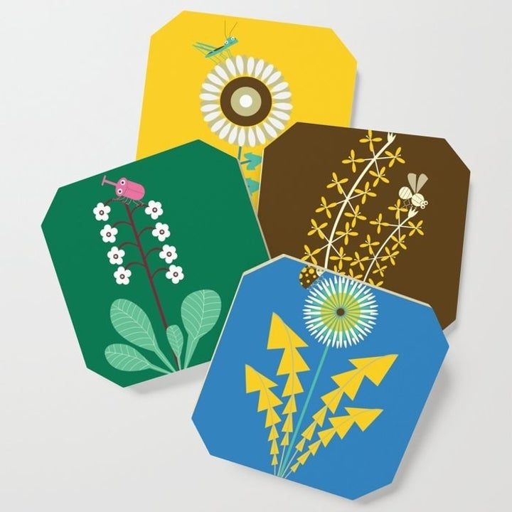 Coasters featuring floral designs