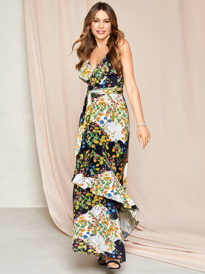 A model wearing the multicolored wrap dress