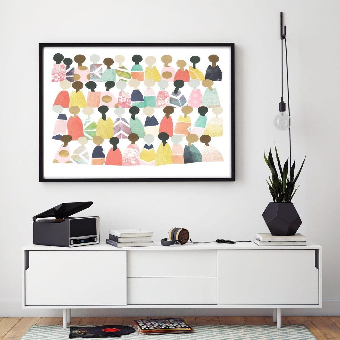 Colorful, minimalist art piece featuring people with different skin tones