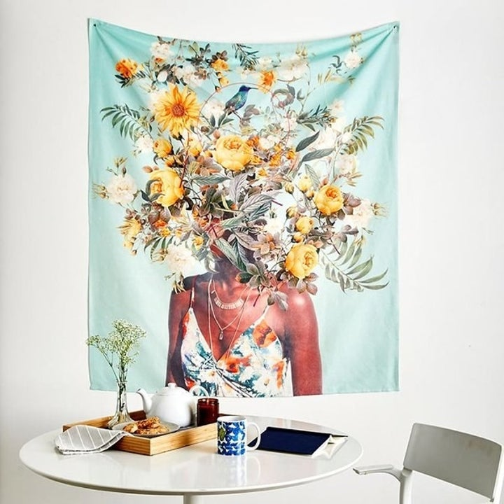 Tapestry featuring a floral design