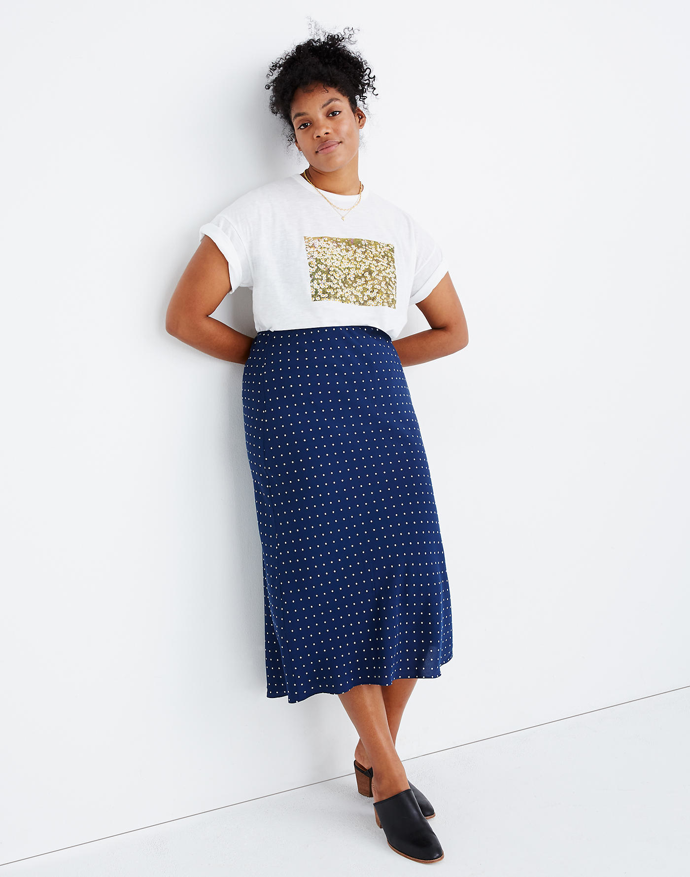 model wearing the blue and white midi skirt
