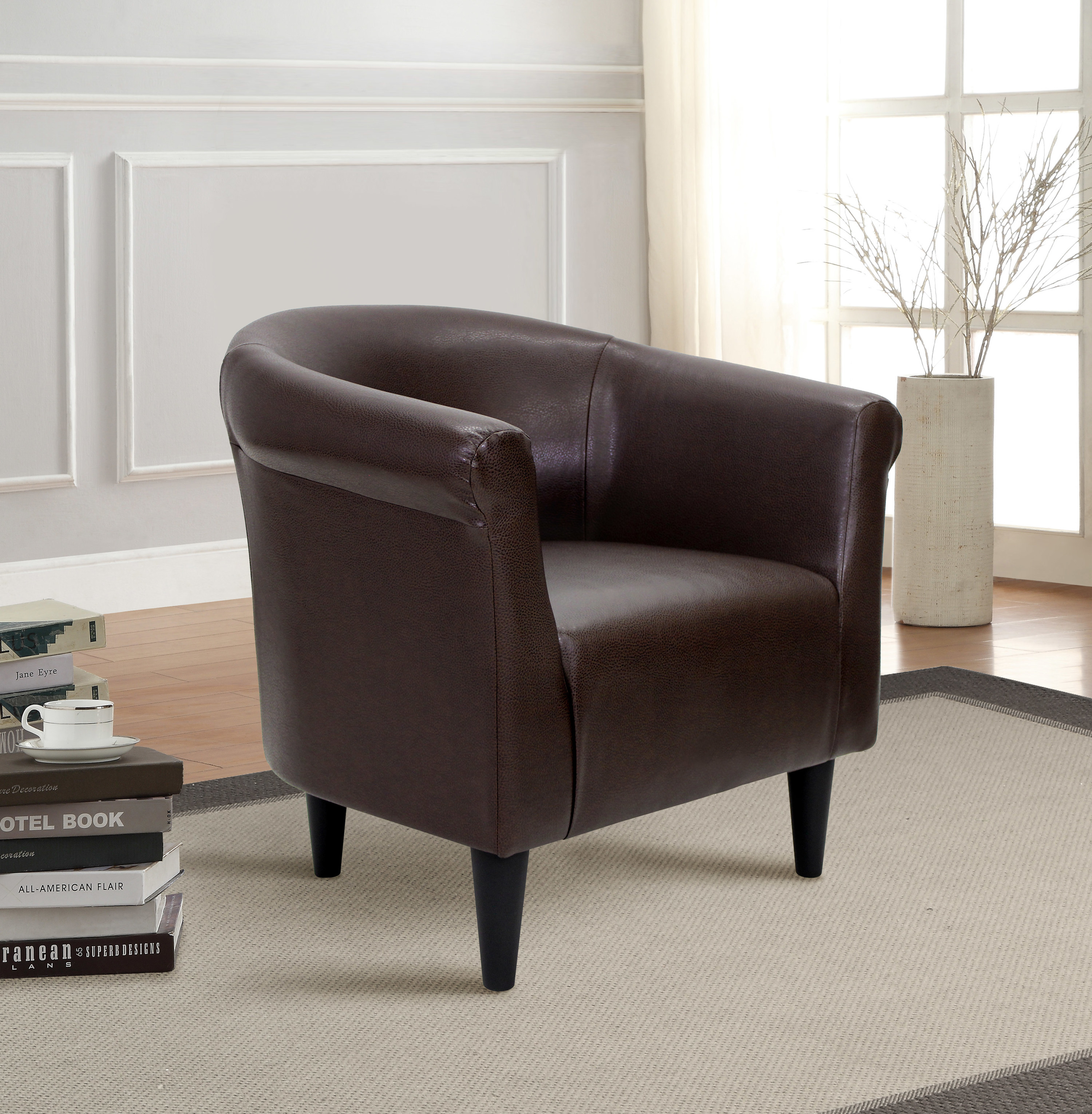 The brown leather chair