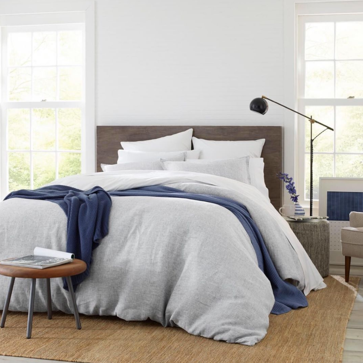 Linen duvet set in heathered navy