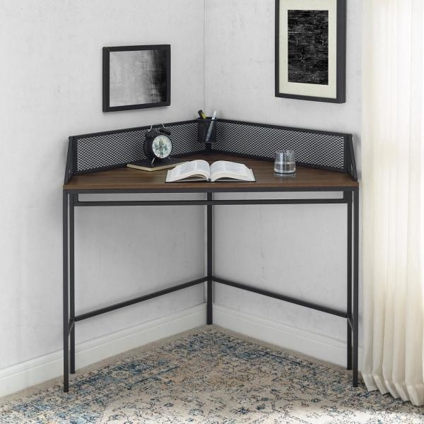 The Welwick Designs 42 in. Corner Dark Walnut Computer Desks with Cable Management in a corner of a room
