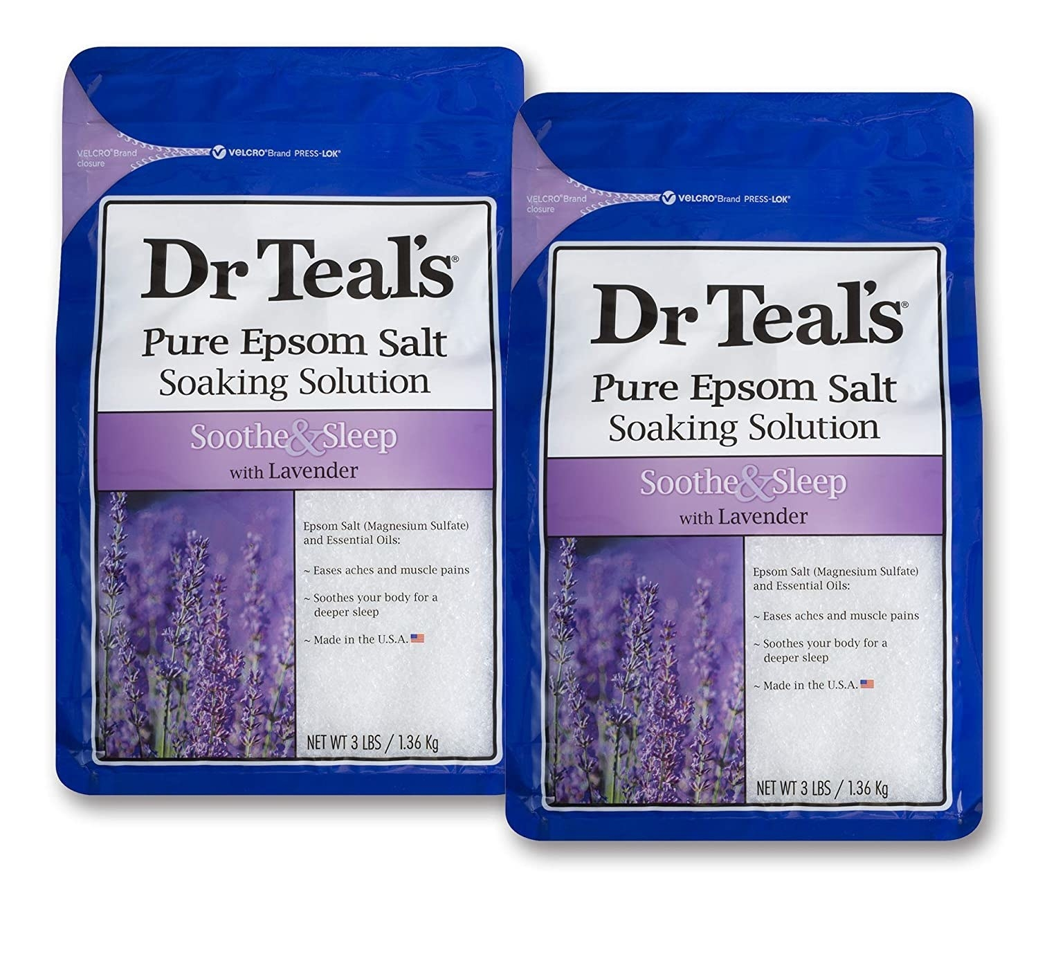 Two blue plastic packages of Dr. Teal's Epsom salt