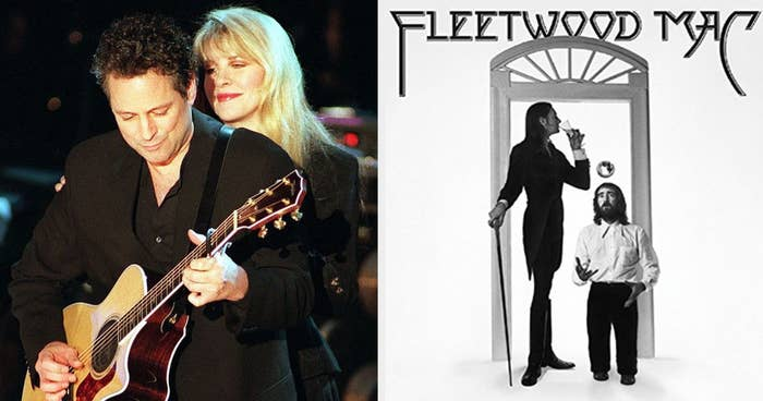 """Stevie Nicks and Lindsey Buckingham performing """"Landslide"""" in the '90s; the """"Fleetwood Mac"""" album cover from 1975"""