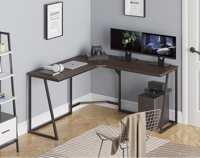 The Latitude Run Allare Reversible L-Shape Desk in a display office