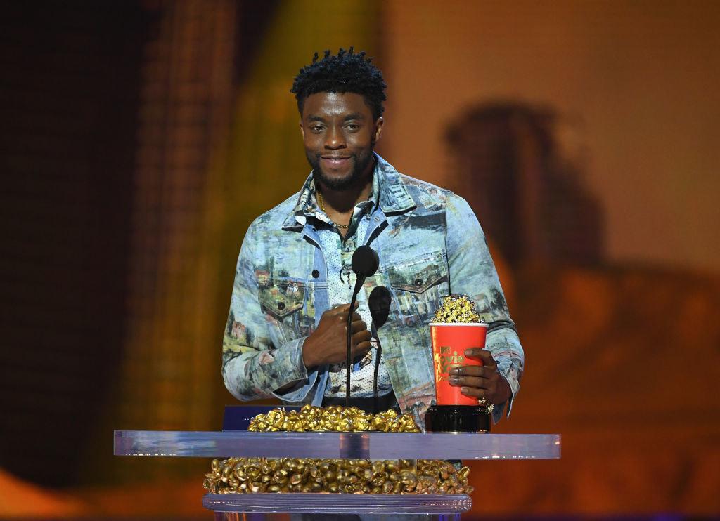 Chadwick accepting MTV movie award