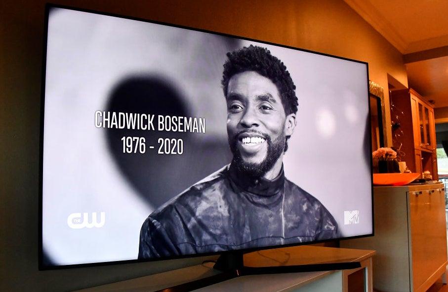 Chadwick Boseman MTV VMAs black and white In memoriam