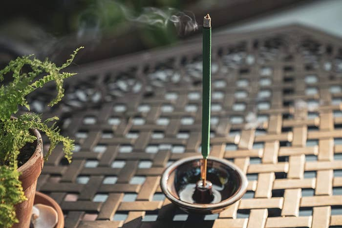 The green stick burning in an incense holder
