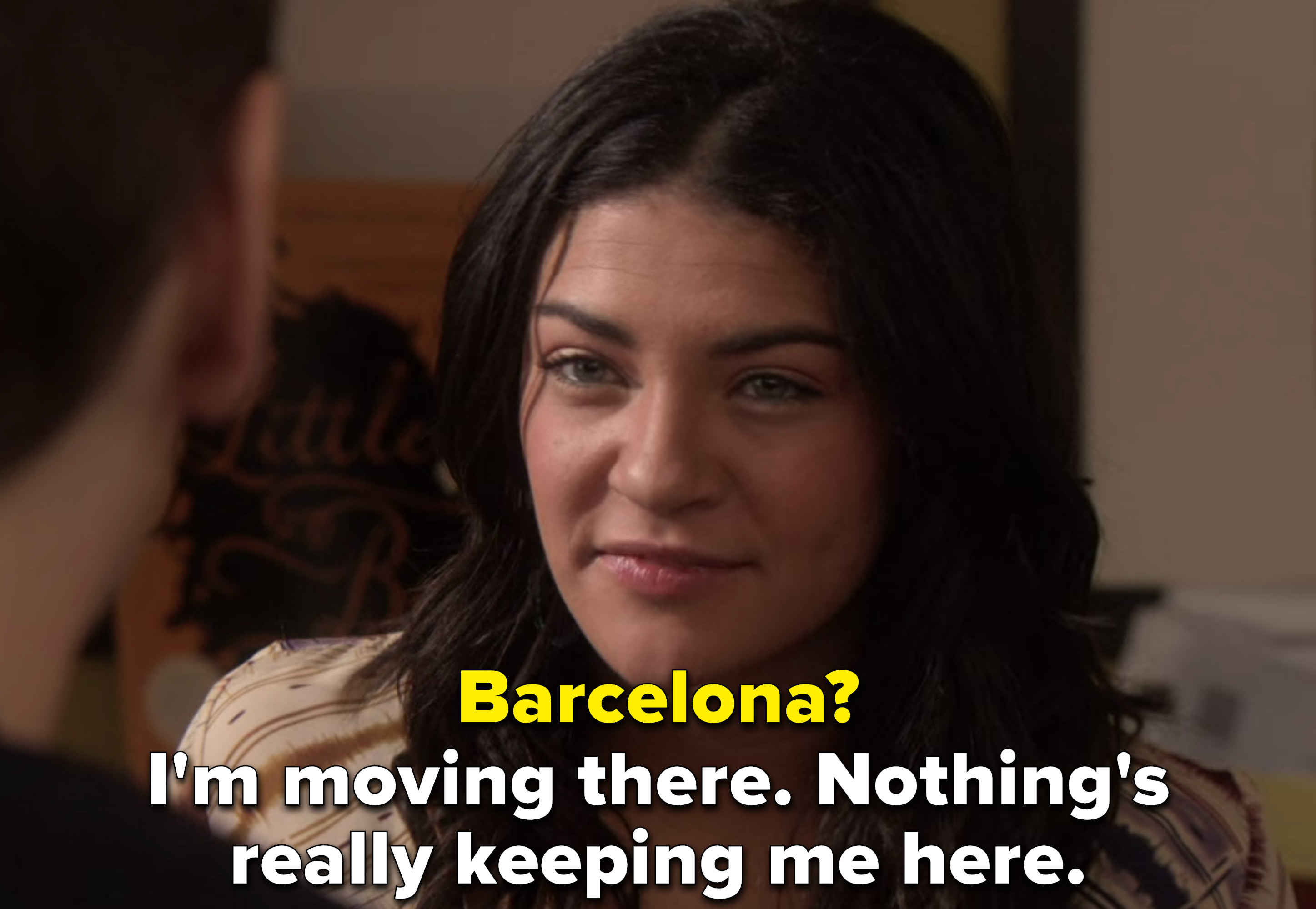 the literary agent asks why Barcelona, and Vanessa says nothing's keeping her in New York
