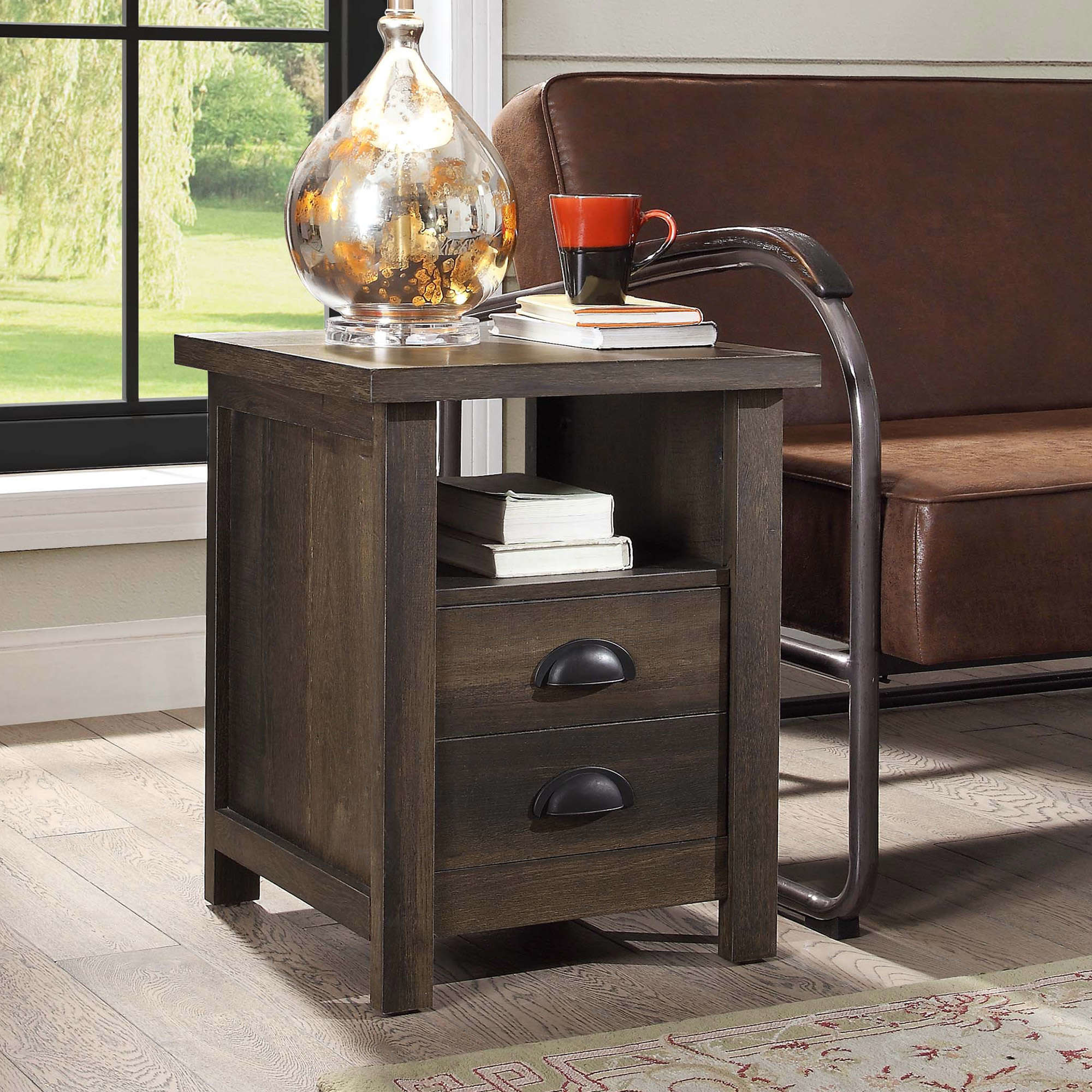the dark wooden end table with two draws and one shelf