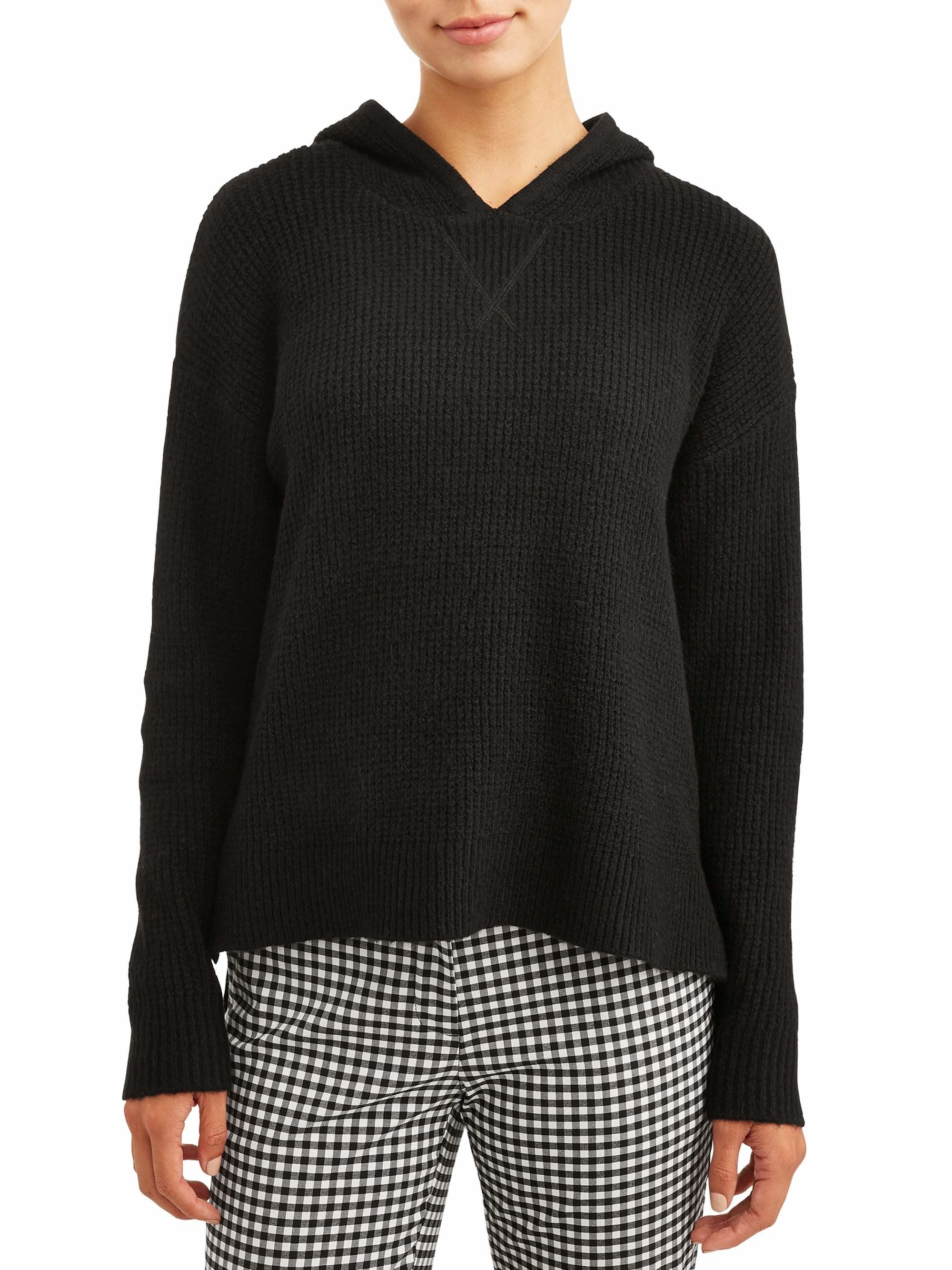 black waffle knit long sleeve
