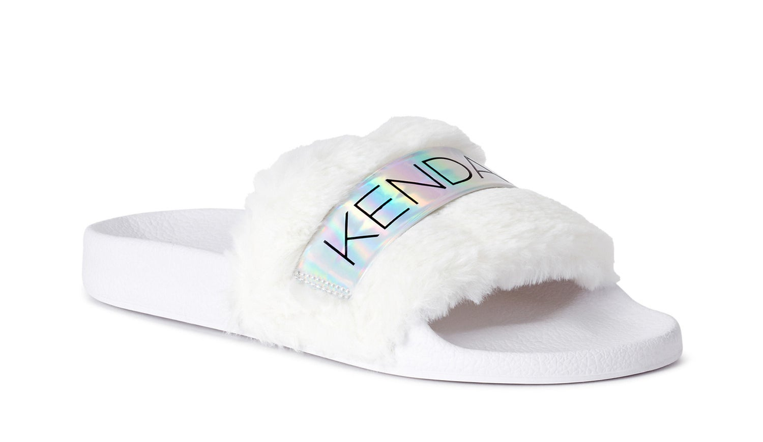 The white slides with faux fur and holographic text