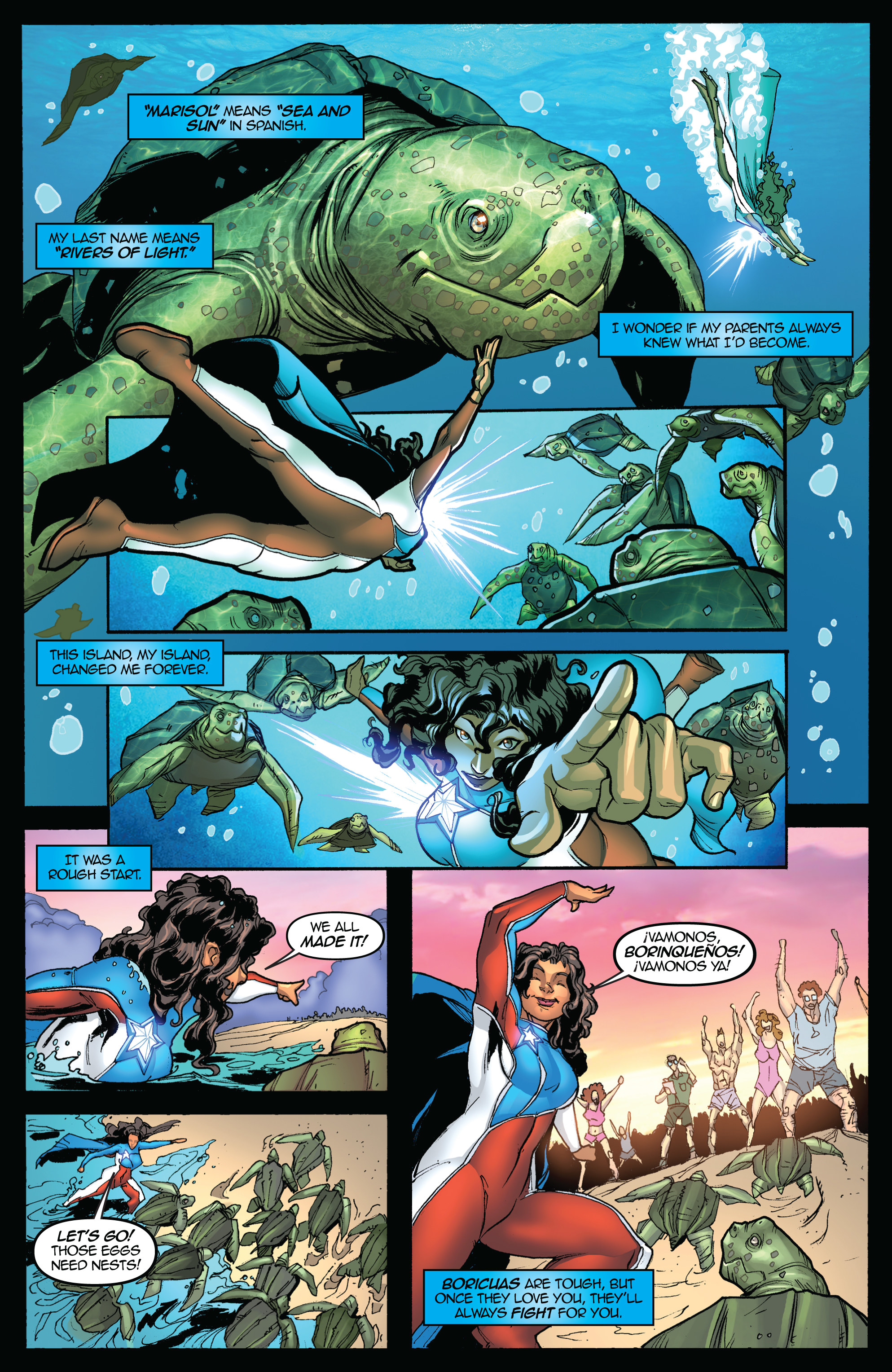 Comic illustration of character named Marisol Rios De La Luz, helping turtles next their eggs in the sand.