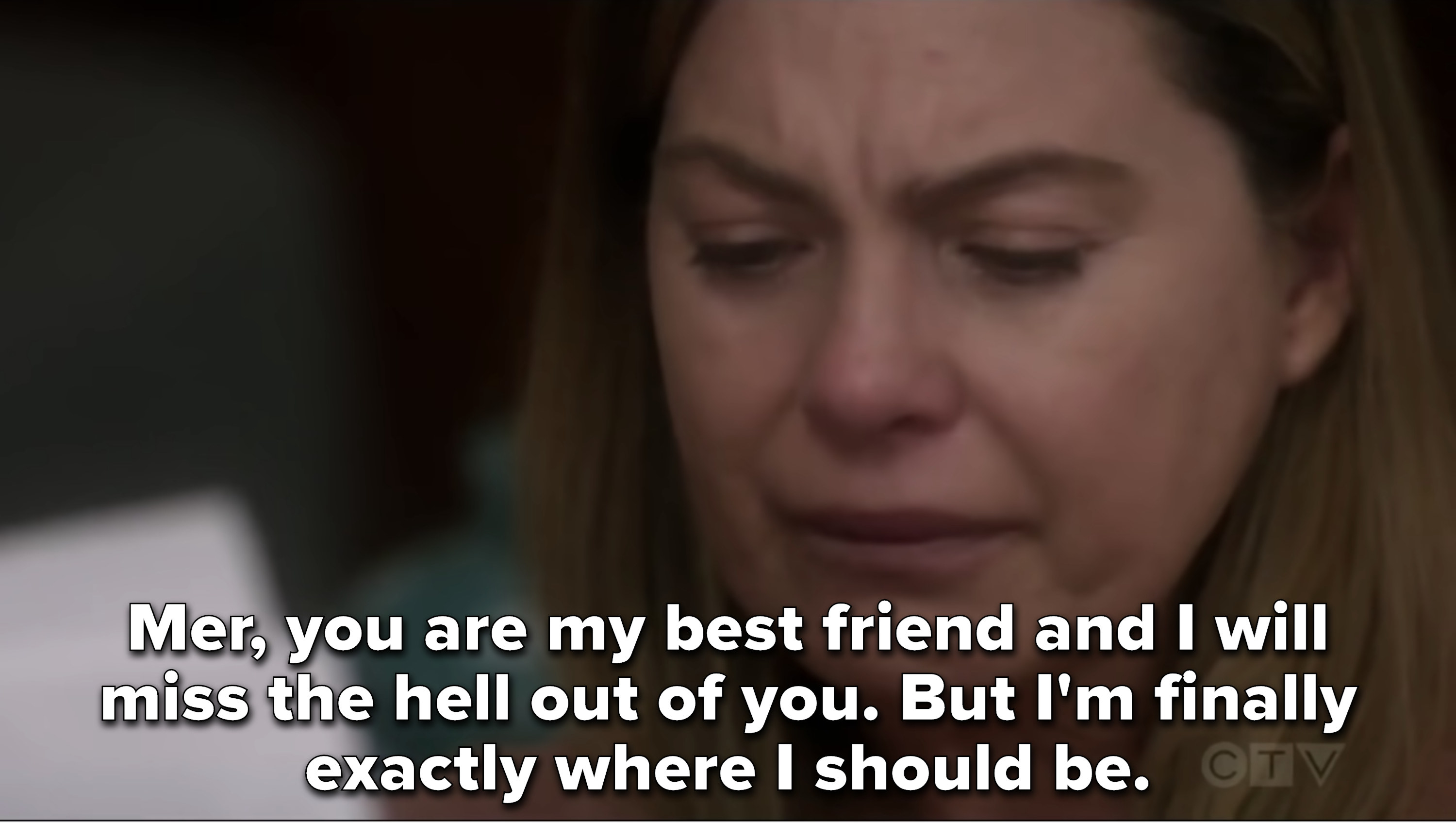 Meredith cries reading Alex's letter, which says she's his best friend but he's where he should be