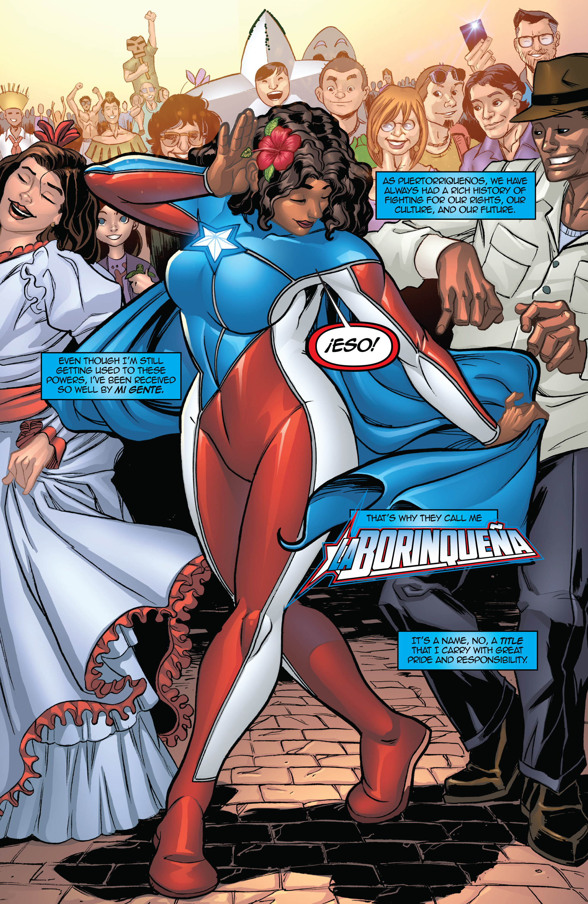 Comic illustration of character named Marisol Rios De La Luz dancing with her community in Puerto Rico.