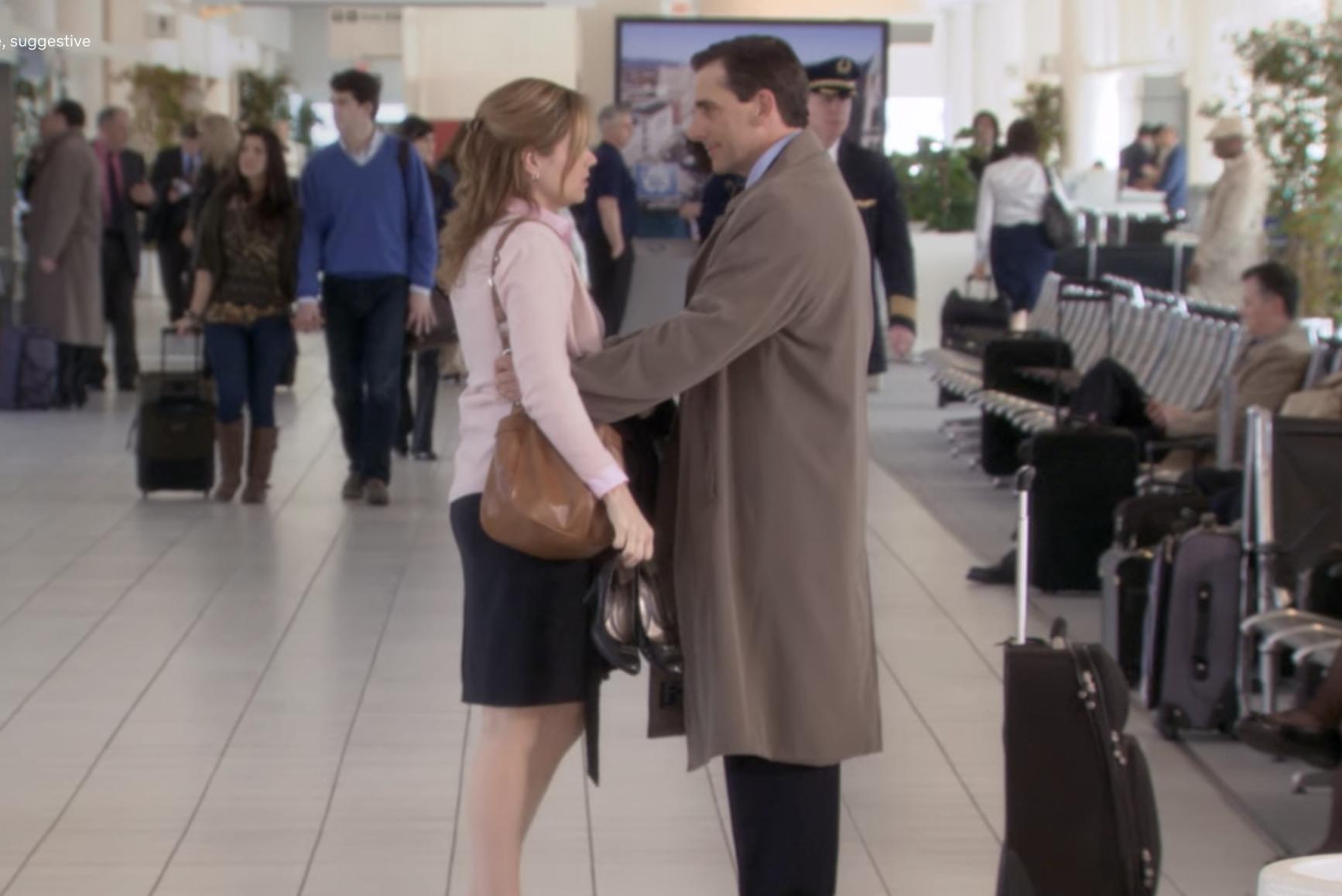 Pam hugs Michael goodbye