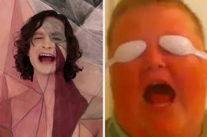 "Side-by-side images of Gotye in ""Somebody That I Used To Know"" and the ""Hater Blockers"" Vine"