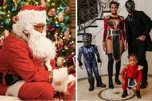 "Santa on ""Black-ish"" and Ciara and Russell Wilson with kids."