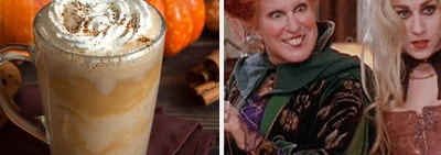 pumpkin spice latte and the hocus pocus witches