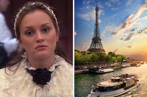 """On the left, Leighton Meester as Blair on """"Gossip Girl,"""" and on the right, the Eiffel Tower at sunset"""