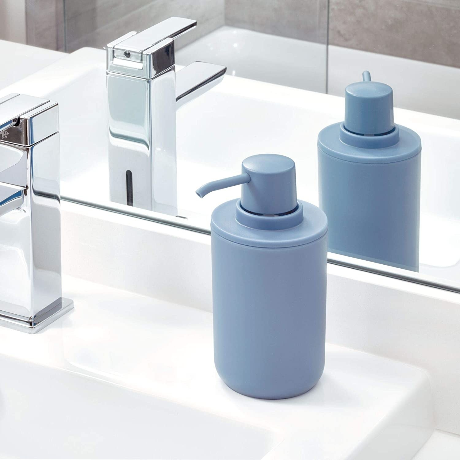 The soap pump on a clean sink