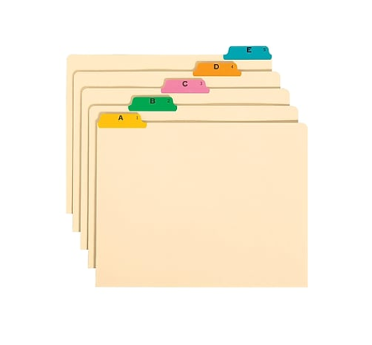 A packet of binder dividers with different different color tabs and it labeled A, B, C, D, E