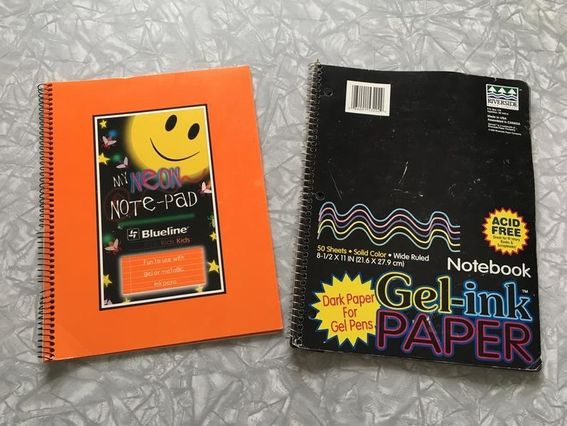 """Two notebooks one labeled """"My Neon Note-Pad"""" and the other labeled """"Gel-ink Paper"""""""