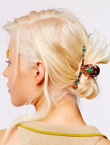 A shot of someone's hair tied up using the skinny hair clip
