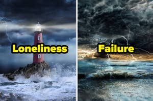 Lighthouse in a storm with the word loneliness and storm over the ocean with the word failure