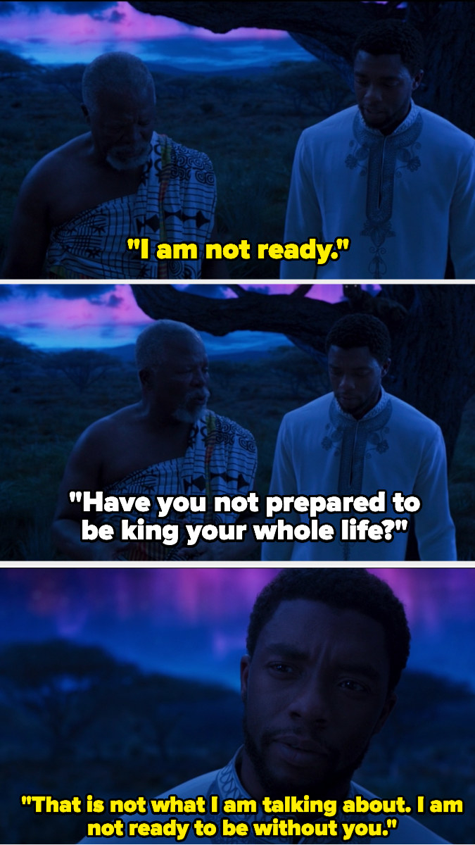 T'Challa telling his father that he's not ready to live without him.
