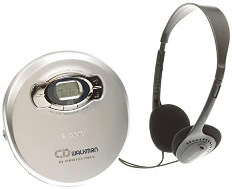 A silver Sony CD Walkman