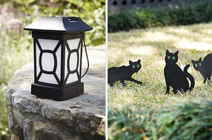 Side by side of mosquito lantern and scare cats on lawn