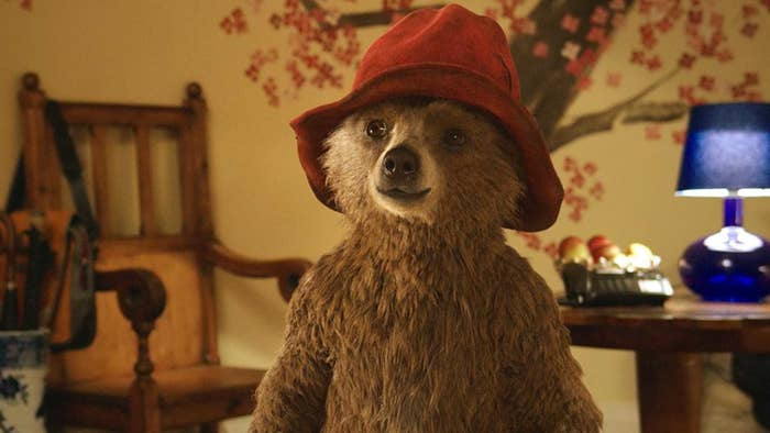 Paddington wearing his red hat and smiling