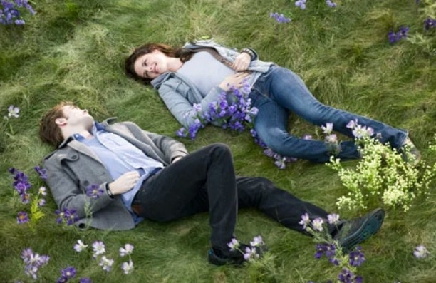 Still from Twilight: Edward and Bella lie side by side in a meadow