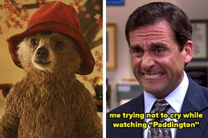 """Side by side of Paddington and Michael Scott from """"The Office"""" trying not to cry"""