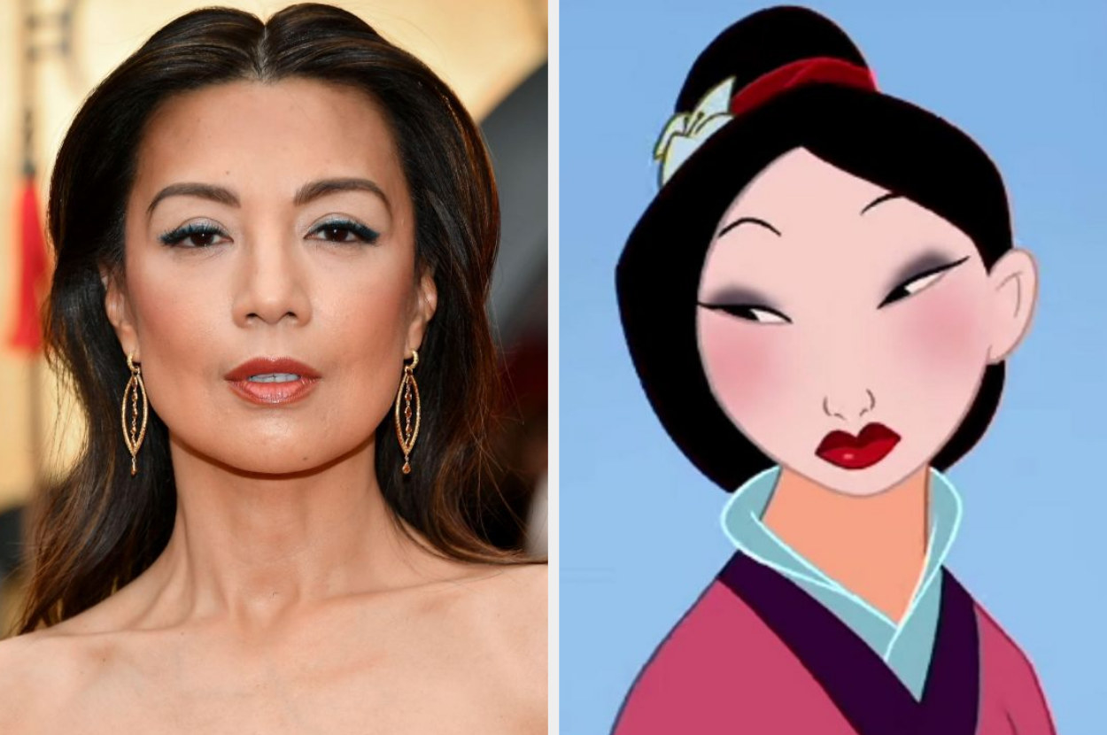 A close-up image of Ming-Na Wen looking amazing at an event with a side by side comparison of animated Mulan in the film dressed in her full makeup for the Matchmaker