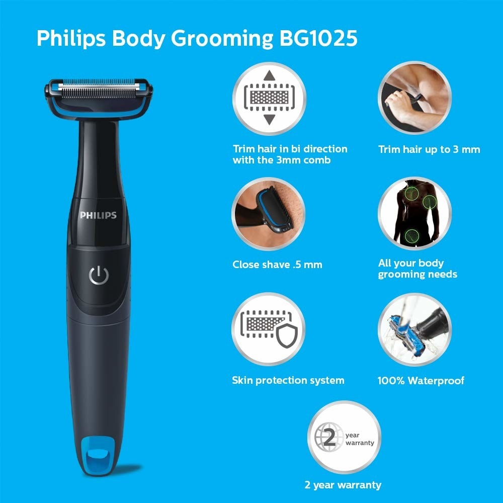 A collage of the Philips body groomer's features such as it being 100% waterproof and 2-year warranty