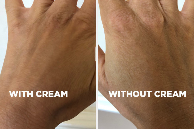 A after image of someone's hand with smooth hydrated skin and a before image of their hand without cream looking dry