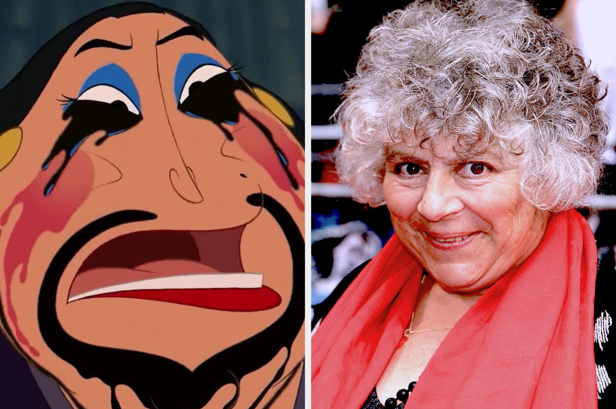 A split image showing The Matchmaker from Mulan with her makeup all melted down her face and a close up of Miriam Margolyes at an event smiling in a red scarf