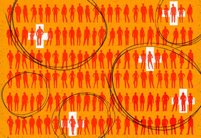 Silhouettes of people, some indicated as being positive, are grouped together suggesting testing pools