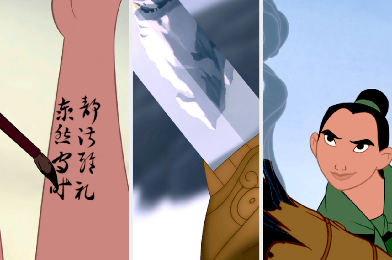 A split image of stills from Mulan shows Mulan writing notes in ink on her arm, Mulan looking at the peak of a snowy mountain in her metal sword, and Mulan smiling having just let off a canon