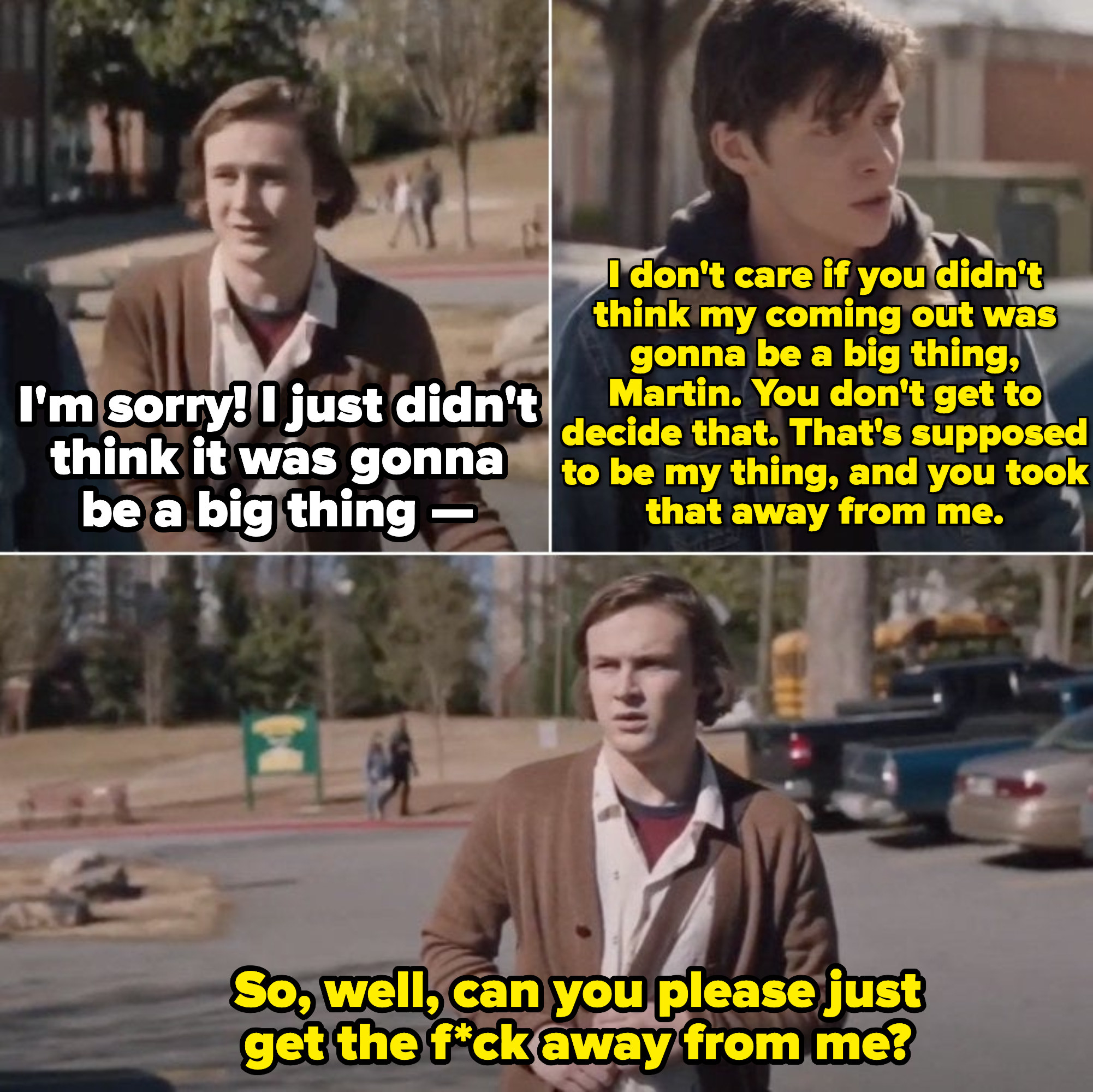 Martin trying to apologize to Simon outside of school in an intimidated way, but Simon isn't having any of it