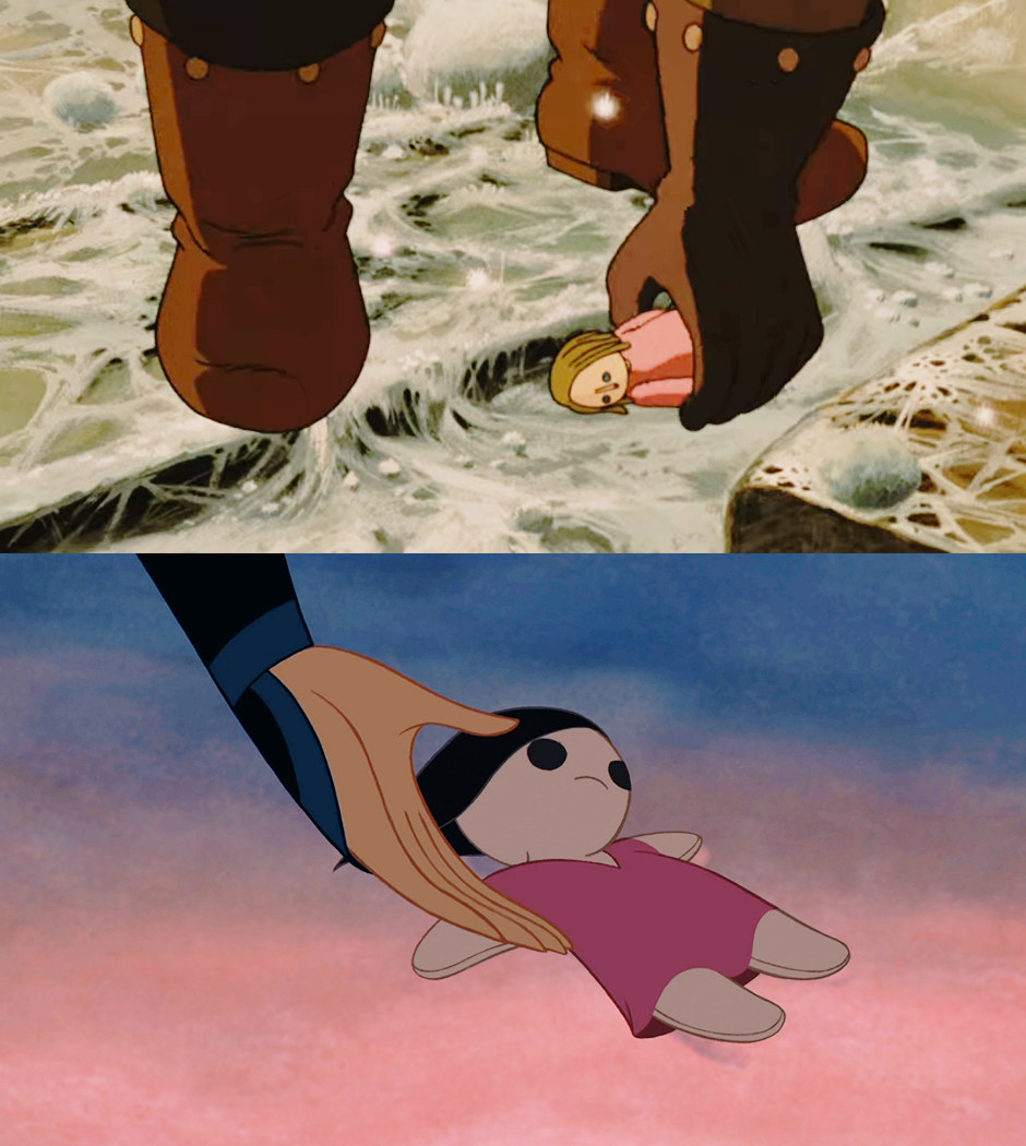 A split image shows an animated man picking up a doll from the floor and in the second image, Mulan also picks a doll from the floor. Both dolls are simple looking with pink dresses