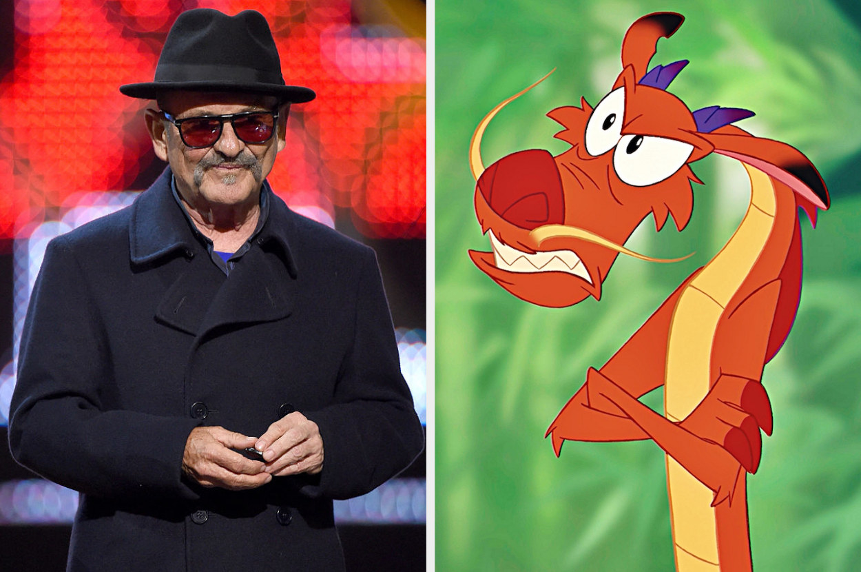 A split image showing Joe Pesci on stage at an event in a black hat and sunglasses, and Mushu from the movie Mulan folding his arms and looking cross in front of a green backdrop